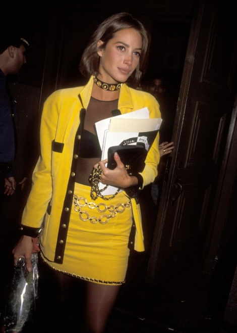 christy turlington yellow suit
